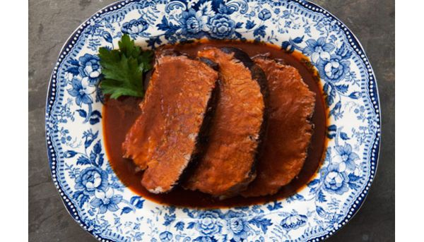 Beef roast braised in zinfandel wine