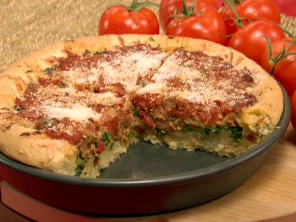 Broccoli deep dish pizza