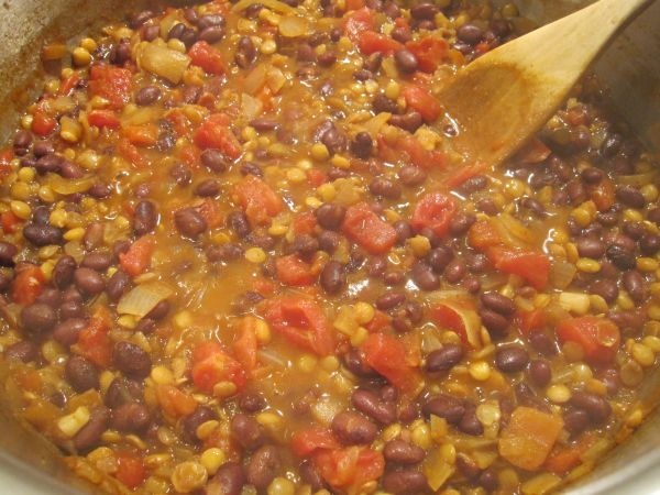 Lentil and black bean soup