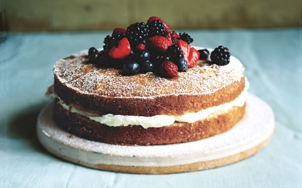 Mascarpone Cake with Sherried Berries