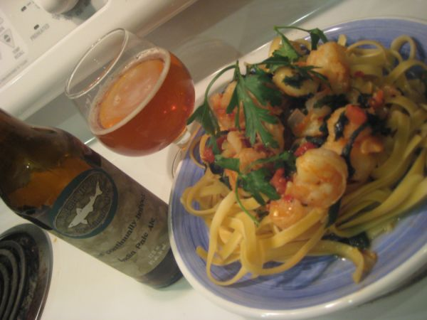 Pasta cooked in beer
