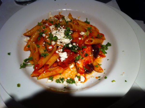 Penne with shrimp and spicy tomato sauce pasta