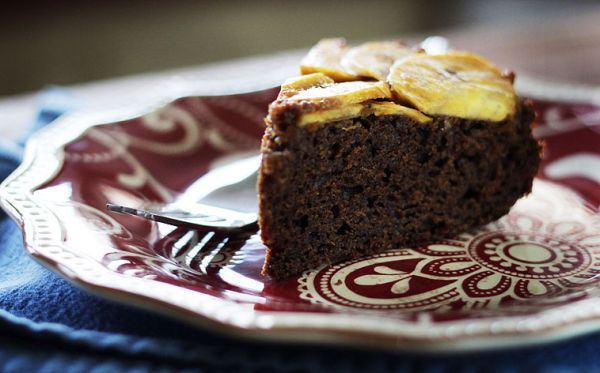 Plantain gingerbread upside down cake