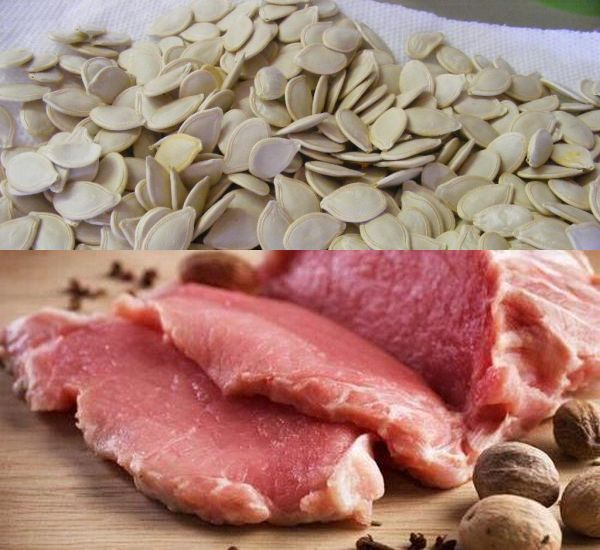 Pumpkin seeds and meat