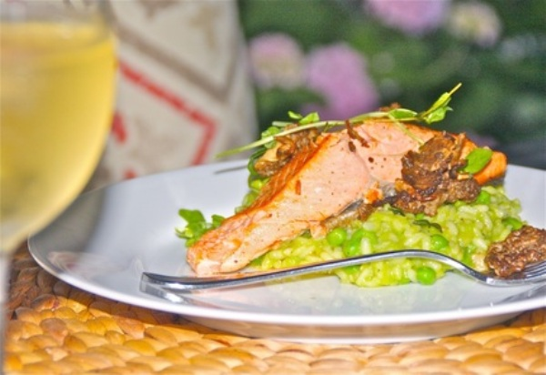 Salmon with Morels and Pea Risotto