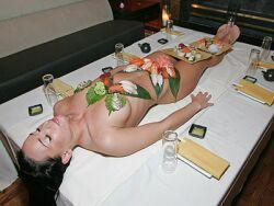 sushi semi naked woman