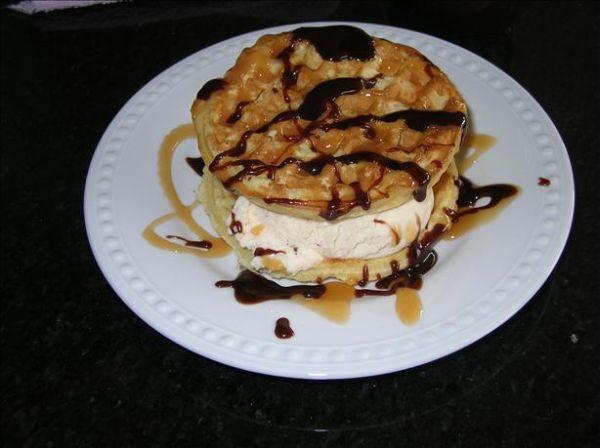 Toasted waffle ice cream sandwich