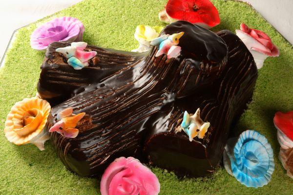 Traditional chocolate yule log
