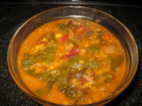 Turkish style red lentil soup with chard