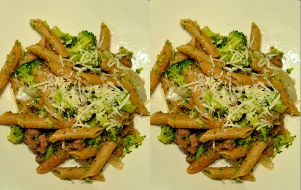 Whole wheat penne pasta with broccoli and sausage