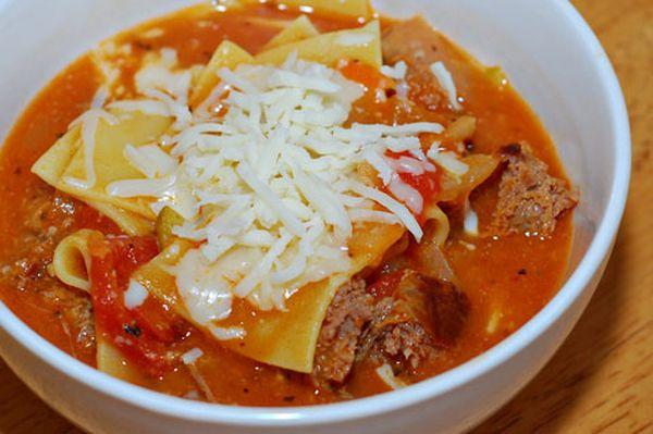 Cheese lasagna soup