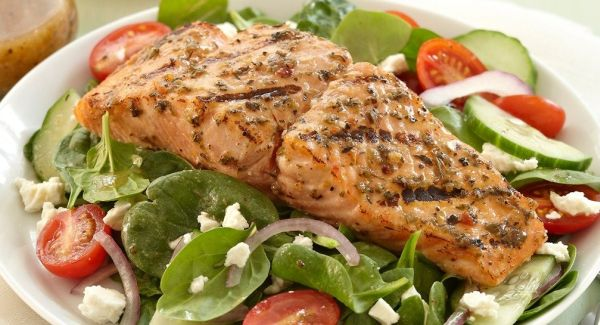 Feta salad salmon recipe