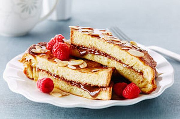 Raspberry chocolate stuffed French toast