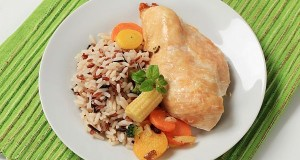 Chicken meat with mixed rice and vegetables
