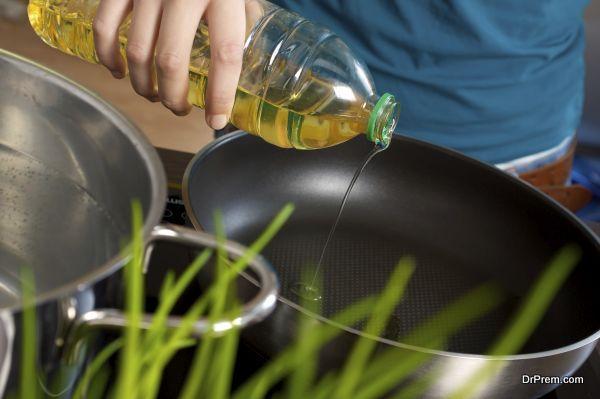 vegetable oil on heat
