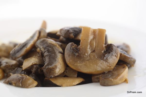 Sauteed mushrooms on plate