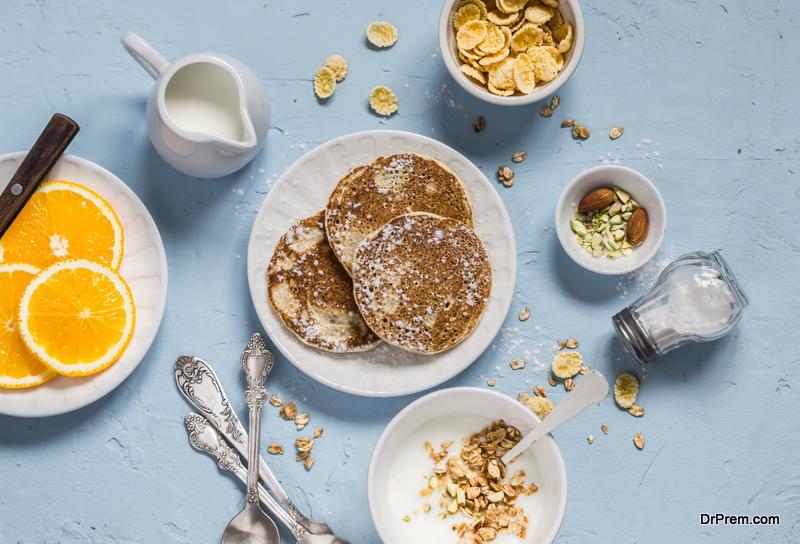 Greek yogurt whole-grain pancakes