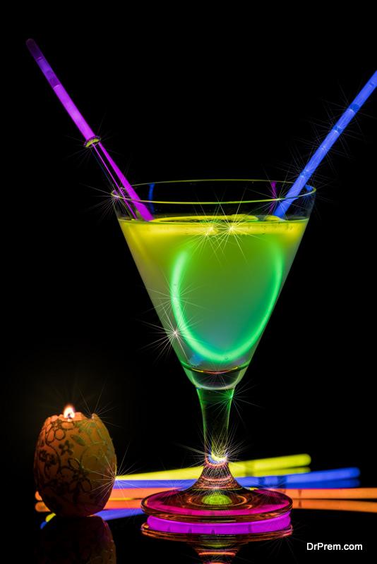 glow stick in martini